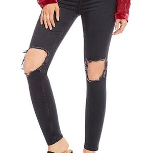 Free People Black Ripped Knee Skinny Jeans 26